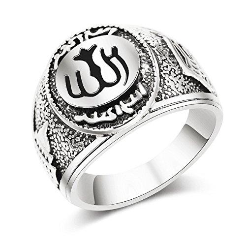 Dunbasi Allah Ring Herren Siber,Islam Muslim Islamische Muslimische Schmuck Koran Retro Vintage Ringe Fingerring Männer Geschenke (57 (18.1))