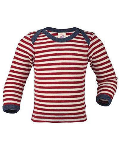 Engel , Baby Unterhemd / Schupfhemd langarm, 100% kbT Wolle (74/80, Rot melange/Natur) - Unterhemd Baby