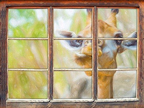 Giraffe dans la nature crayon art effet Fenêtre en 3D look, mur ou format vignette de la porte: 92x62cm, stickers muraux, sticker mural, décoration murale