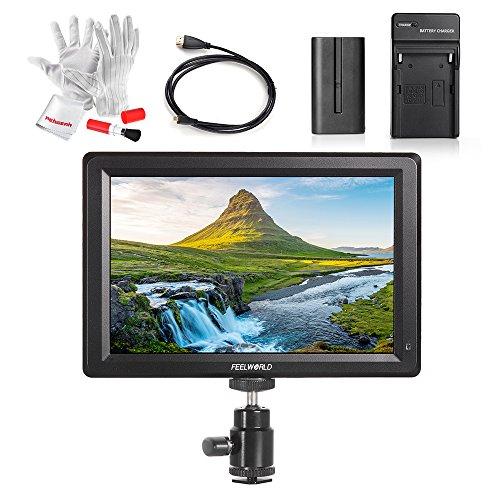 Feelworld F7 7 Zoll IPS 1920X1080 Volle Hochauflösung unterstützen 4K Signal 4K UHD 3840*2160P HDMI Input/Output DSLR Monitor mit Akku, Mikro-HDMI-Kabel Pergear® Reinigung Set für DSLR Kamera und Camcorder