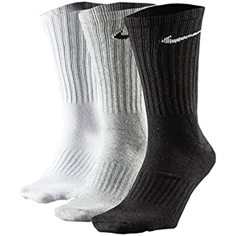 3pares X Nike unisex algodón Crew Calcetines de deporte Talla UK 2–14(sx4508), color Grey/White/Black, tamaño