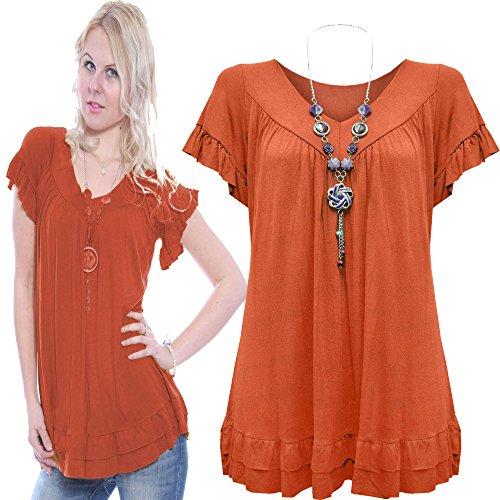 Vanilla ink Damen Bluse Gr.  Größe 16-44, rust - Red Dress Ink