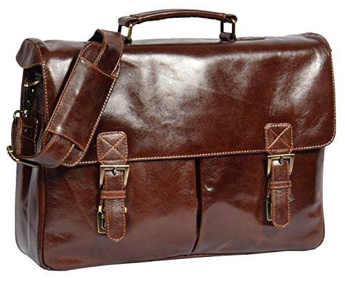 Herren Echtes Leder Aktenkoffer Schulter Laptop Dokumente Büro Tasche Brig Braun (Über Klappe Attache Bag)