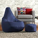 Sitzsack zum liegen und spielen mit kostenlosem passenden Hocker– Wasser abweisend für innen und außen, ein Sitzsack Stuhl von Bean Bag Bazaar - für Erwachsene und Kinder (Marineblau)