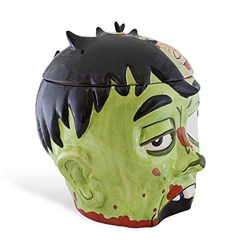 Biscottiera a forma di testa di zombie - idea per halloween - in ceramica