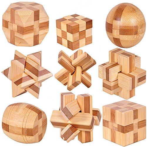 Chonor 9 en 1 Cubo Rompecabezas 3D de Madera del Enigma Educativo Juego Puzle - Clásica de...