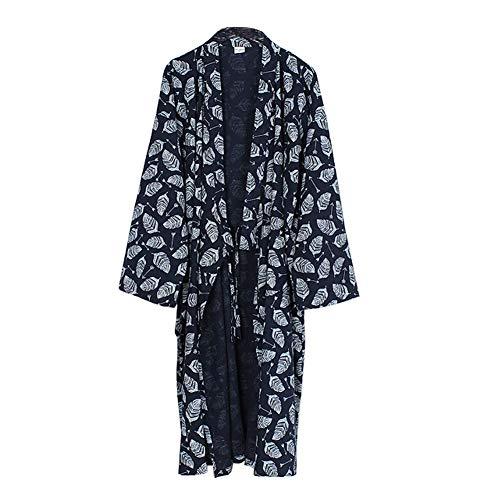 Chinashow Lässige Baumwolle Pyjamas Khan gedämpft Kleidung lose Pyjamas Yukata, Blätter Marineblau -