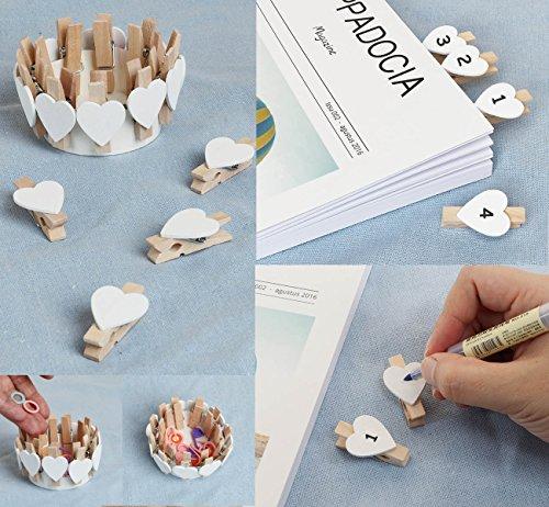 * 100PCS Mini Mollette Legno Mollettine Decorative Cuore Bianche Absofine per Foto Biglietti Scrapbooking Matrimonio BIANCO confronta il prezzo online