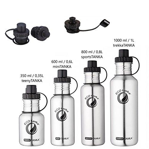 ECOtanka | SPORT-VERSCHLUSS | 600 ml | Edelstahl- Trinkflasche Wasserflasche Outdoor Trekking Camping Baby Sport Stahl Flasche Behälter Gefäss | Frei von BPA | 100 % dicht & auslaufsicher |keine Innenbeschichtung | kein Aluminium | Getränke für jeden Anlass | 100 % umweltfreundlich |