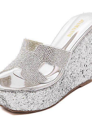 LFNLYX Chaussures Femme-Habillé-Noir / Argent-Talon Compensé-Compensées / A Plateau / Bout Ouvert-Sandales-Synthétique Silver