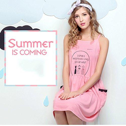 Lady estate a maniche corte in cotone pigiama allentata con cinturino da notte per un dolce servizio da casa ( Color : Pink , Size : L ) Pink