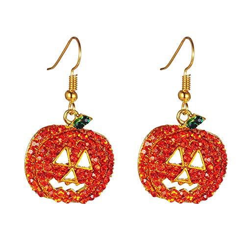 cA0boluoC Weihnachts-Ohrringe, kubische Zirkonia, Kürbis-Ohrhänger, Ohrhänger, Halloween-Schmuck, in Geschenkbeutel für Frauen Orange