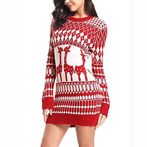 Weihnachten Kleid,Marlene Damen-Langarm-Santa-Print-Lässiger Minirock -