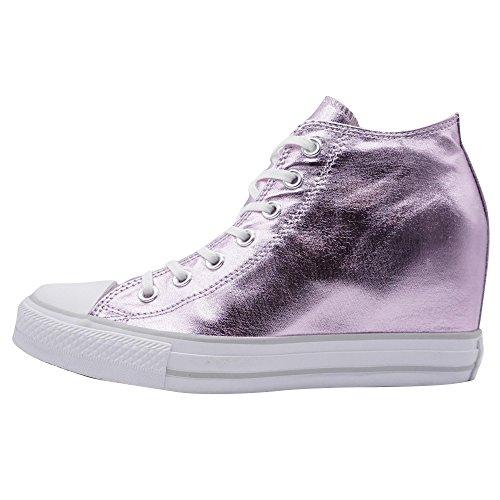 Keil Damen-sneaker, Converse (Converse Chuck Taylor All Star Mid Lux Canvas Metallic Damen Keil-Sneaker Rosa Übergrößen, Größe:42)
