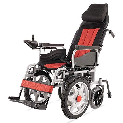 NIGHT WALL Haltbarer faltender Krafttransport-elektrischer Rollstuhl Faltbarer Mobilitäts-Stuhl Tragbarer automatisierter motorisierter Rollstuhl (ROT), rot