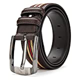 XIANGUO Men's Pin Buckle Geniune Leather Casual Fabric Belt with Ribbon