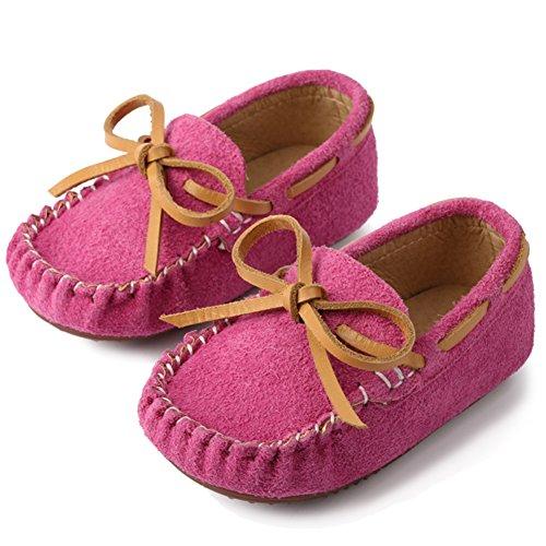Mokassins Rosa Baby (Mädchen Jungen Mokassins Wildleder Rutschfest Lauflernschuhe Kinder Loafers Baby Schuhe mit Weich Sohle Für Frühling Sommer,Rosa 28)