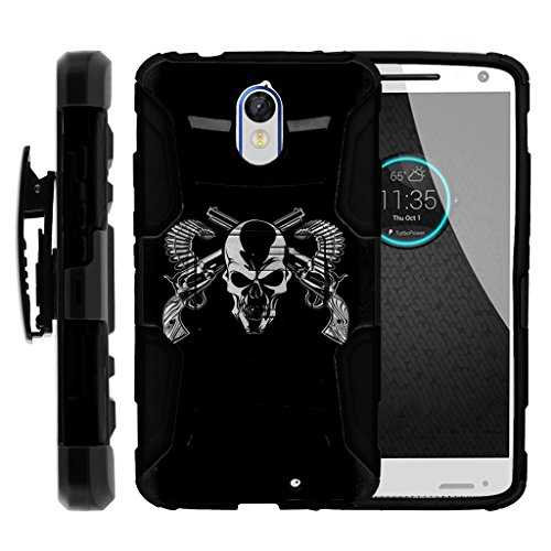 turtlearmor | Motorola Droid Turbo 2Fall | Moto X Force | Kinzie [Hyper Schock] Hybrid Dual Layer Rüstung Holster Gürtel Clip Case Ständer -, Mercenary Skull