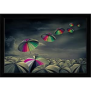 AZ Standing Out Aloud Canvas Painting Black Wood Frame 17 x 12inch