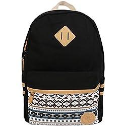 Backpack Mochilas Escolares,Marsoul Mujer Mochila Escolar Lona Grande Bolsa Estilo Étnico Vendimia Casual Colegio Bolso para Chicas(Gypsy Negro)