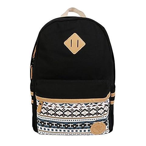 Canvas Rucksack, Beiläufiger netter Rucksack, leichte Segeltuch-Laptop-Beutel, Schulter-Beutel, Schulrucksack, Segeltuch-Schultasche, Arbeits-Beutel, beiläufiger Beutel, groß für Kinder, Jugendliche, Studenten oder Erwachsene (Schwarz)