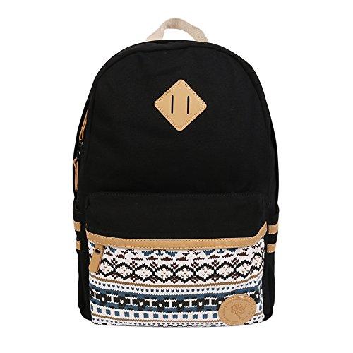 Imagen de backpack  escolares, marsoul mujer  escolar lona grande bolsa estilo étnico vendimia casual colegio bolso para chicas gypsy negro