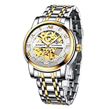 Men's Watch Gold White Mechanical Stainless Steel Skeleton Waterproof Automatic Self-Winding Roman Numerals Diamond Dial Wrist Watch