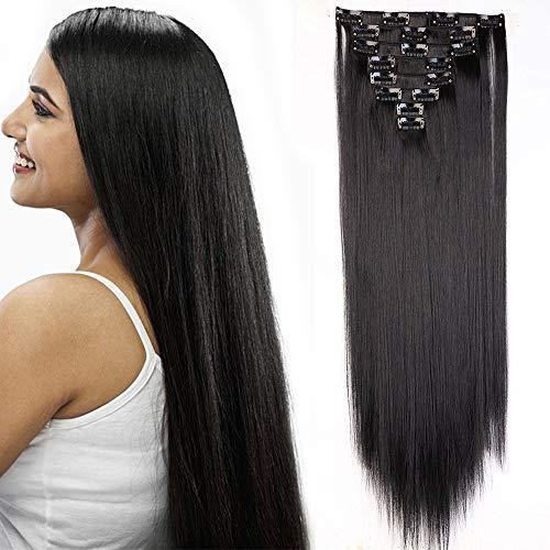 Extension clip capelli lisci lunghi neri con 18 clips 8 fasce extensions sintetiche 65cm parrucca donna full head 140g - nero naturale