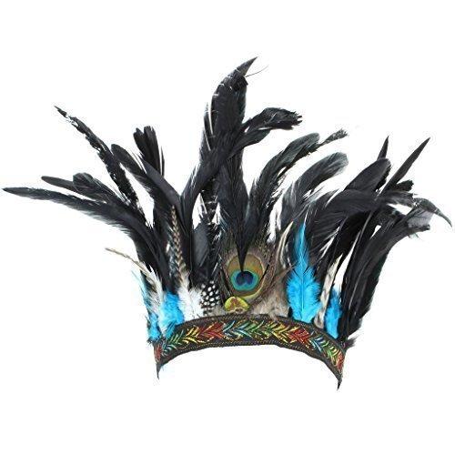 LoudElephant Feather Headdress Headband with Blue Feathers