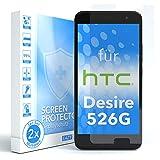 EAZY CASE 2X Panzerglas Bildschirmschutz 9H Härte für HTC Desire 526G Dual SIM, nur 0,3 mm dick I Schutzglas aus gehärteter 2,5D Panzerglasfolie, Bildschirmschutzglas, Transparent/Kristallklar