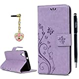 HTC Desire 626 / 626s Case, YOKIRIN Premium Soft PU Leather Notebook Wallet Cover Case with [Kickstand] Credit Card ID Slot Holder Magnetic Closure Butterfly Vintage Flower Design Folio Flip Protective Slim Skin Cover for HTC Desire 626 / 626s(& Stylus Touch Screen Pen & Dust Plug),Purple