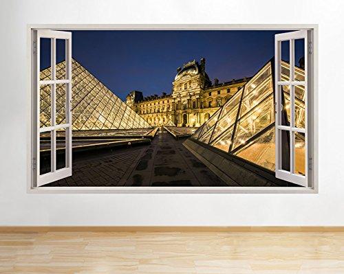 h583Lourve Galerie Pyramiden Paris Fenster Wand Aufkleber 3D Kunst Aufkleber Vinyl Zimmer (Riesige (100x - Paris-wand-aufkleber