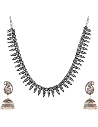 Ganapathy Gems Silver Metal Strand Necklace Set For Women (GPJC55)