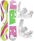 Raven Snowboard Set: Snowboard Venus Green/Pink + Bindung Luna M (140cm)
