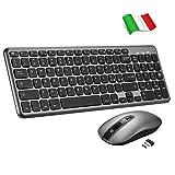 TOPELEK Tastiera e Mouse Wireless PC, Portabile Tastiera Wireless PC Anti-Scivolo per Windows/Mac, Tastiera QWERTY Italiano e Mouse Silenzioso Simmetrico 3 DPI