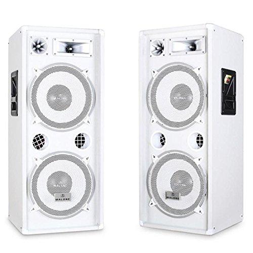 Malone PW-2222 All-White PA-Lautsprecherpaar (3-Wege System, 30cm (12 Zoll), Flansch) - 2000 Watt