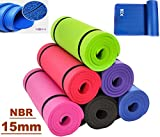Xn8 15mm NBR Yoga Mat Aerobic Camping Pilates Gym Padded Thick Exercise Mat with Straps