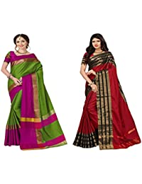 Art Decor Sarees Women's Cotton Silk Saree With Blouse - Combo Of 2 Saree - Total 50 Colors Available