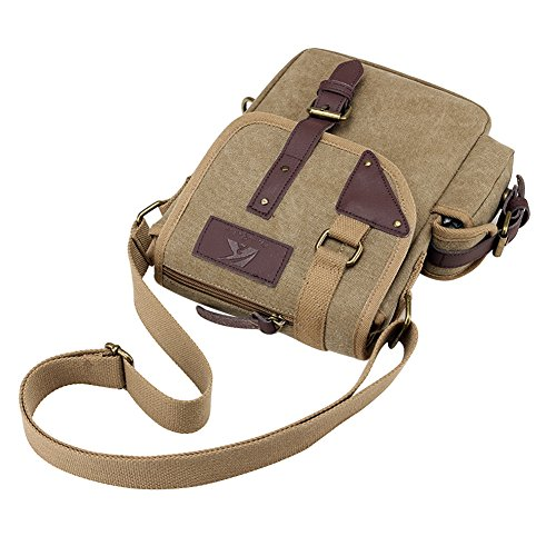 PB-SOAR Herren Vintage Canvas Kleine Umhängetasche Schultertasche Handtasche Messenger Bag Tasche für Büro Reise Sport Freizeit usw (Schwarz) Khaki