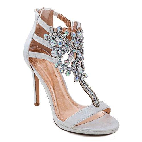 Toocool - scarpe donna gioiello decollete sandali eleganti strass sexy tacchi pl808-72 [40,argento]