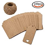 100 Pieces Brown Kraft Tags Kraft Paper Tags Marriage Gift Tags Luggage Tags Wedding Paper Tags With 30 Meters Of Natural Jute Twine