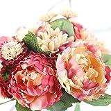 Longra Wohnaccessoires & Deko Kunstblumen Künstliche Fake Pfingstrose Seide Blume Bridal Hortensie Home Hochzeit Garten-Dekor Bouquet (orange)