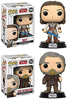 Funko POP! Star Wars The Last Jedi: Rey + Luke Skywalker – Stylized Vinyl Bobble-Head Figure Set NEW