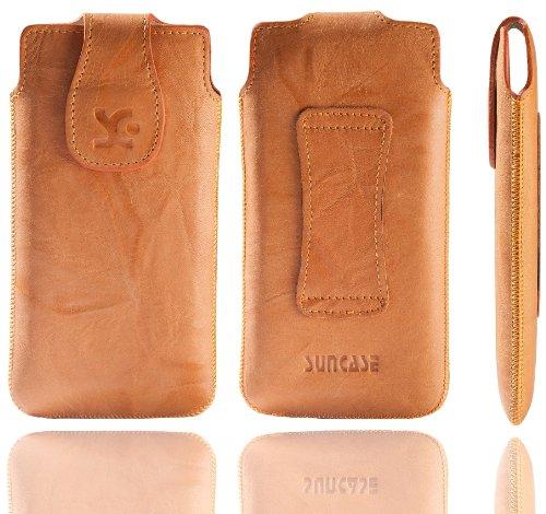 Original Suncase ECHTLEDER Tasche für   Apple iPhone SE / iPhone 5S   Leder Etui Handytasche Ledertasche Schutzhülle Case Hülle in wash-rot Wash-Orange