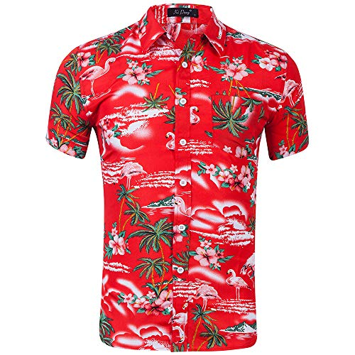 AIDEAONE Herren Hawaii Aloha Hemd Kurzarm Urlaub Hemd Strandkleidung Rot (Herren Gonzo Kostüm)