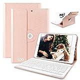 COO iPad Mini 1/mini 2/mini 3 Hülle Tastatur, 360 Grad rotierende Stand Keyboard Case mit Mulit-Angle- Ständer-Funktion, mit Auto Schlaf/Wachen, Bluetooth Deutsches QWERTZ Layout Tastatur(Champagner)