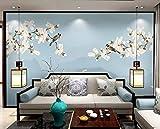 HONGYUANZHANG Weiße Blumen Und Vögel Kopieren Künstlerische Landschaft Fernsehhintergrundtapete Der Foto-Tapete 3D,140Inch (H) X 172Inch (W)