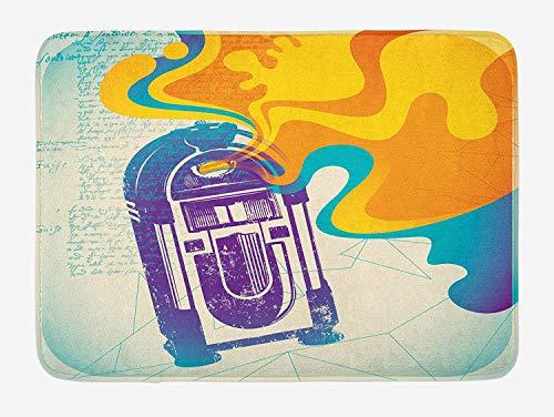 ARTOPB Jukebox Bath Mat, Retro Vintage Radio Music Box with Marigold Yellow Abstract Fog Like Image, Plush Bathroom Decor Mat with Non Slip Backing, 23.6 W X 15.7 W Inches, Purple and Blue Lime Green Music Box