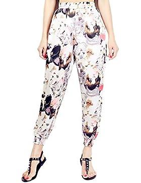 Pantalones Mujer Harén Pantalone Verano Cintura Alta Pantalones de Playa con Estampado Floral Pantalones Casuales...