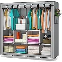 UDEAR Armario de tela y tubo metal para ropa Organizador Ropero plegable colgar Gris